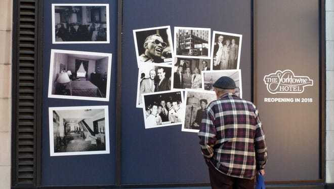Window coverings highlight celebrities and changes to the Yorktowne Hotel, which officially closed Saturday for about two years for renovations, Monday, November 7, 2016. John A. Pavoncello photo