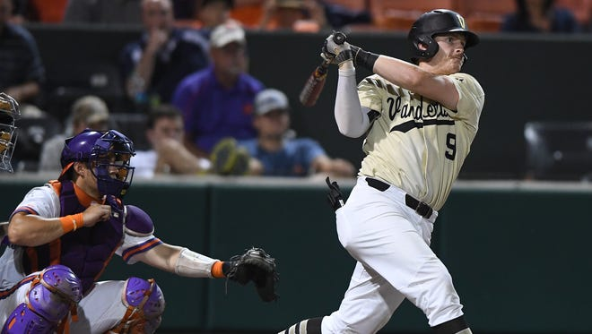 Vanderbilt's Will Toffey, right, joins former Commodores pitcher Sonny Gray in the A's organization.