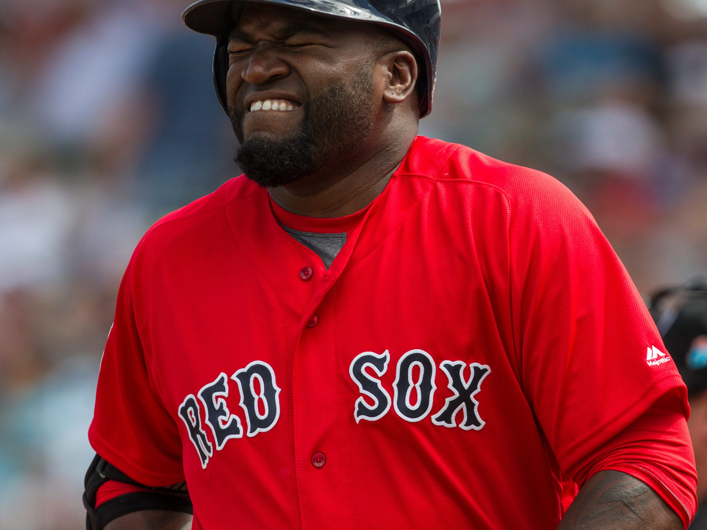 "David ""Big Papi"" Ortiz, grimaces after hitting his knee with a foul ball on his first at-bat against the Minnesota Twins Spring Training game Thursday (3/10/16) at jetBlue Park in Estero."