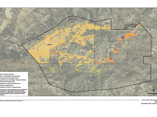 A map of the contaminated former Santa Susana Field Laboratory in the hills southeast of Simi Valley is displayed.