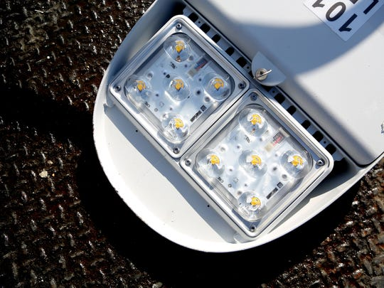 A detail of the 10 LED lights on one street light that will give off a much more powerful and clear light at night time. file photo