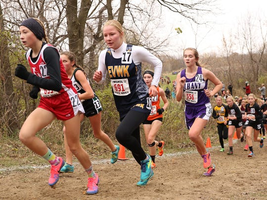 Eden Valley-Watkins/Kimball's Olivia Kuechle ran up the first hill Saturday durng the State class A cross country meet at St. Olaf College in Northfield.
