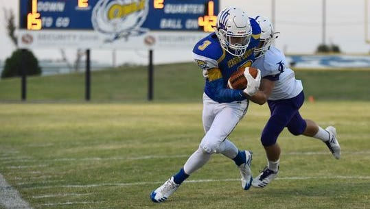 Reagan County's Kaleb Morris had a touchdown grab and caught a pair of two-point conversions in the Owls' 42-34 comeback win over Forsan.