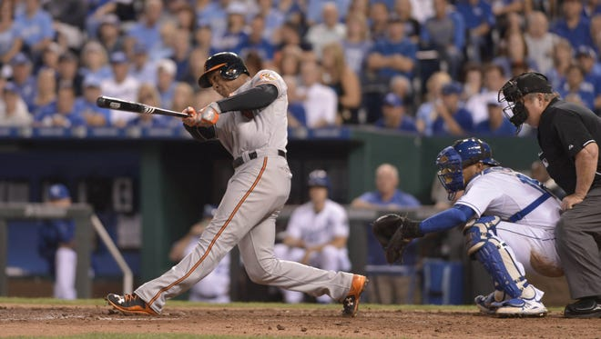 Orioles second baseman Jonathan Schoop connects for a two-run home run in the fourth inning.
