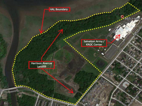An area awaiting riverfront restoration in Cramer Hill is shown in a graphic from the state Department of Environmental Protection
