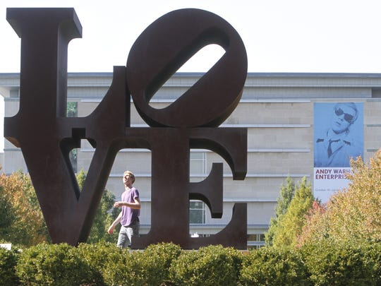 """""""Love"""" in its previous outdoor home, as seen in 2010."""