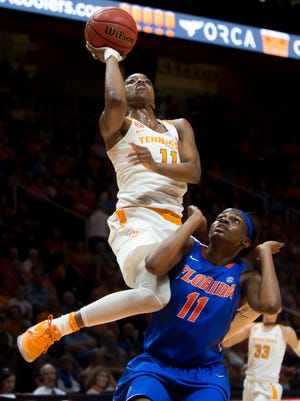 Tennessee's Diamond DeShields attempts a shot over Florida's Dyandria Anderson during the second half against Florida at Thompson-Boling Arena.