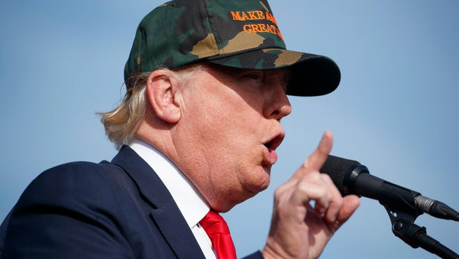 Republican presidential candidate Donald Trump speaks during a campaign rally Oct. 25 in Sanford, Fla.