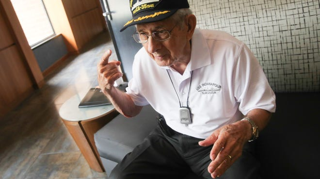 "Edgar Harrell, author of ""Out of the Depth: An Unforgettable WWII Story of Survival, Courage, and the Sinking of the USS Indianapolis,"" is one of the 36 living survivors from the sinking of the USS Indianapolis on July 30, 1945. Harrell is shown here on July 25, 2014, at the survivors reunion in Indianapolis."