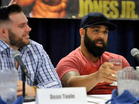 (l-r)  CEO of Island Fights events, Dean Toole, listens