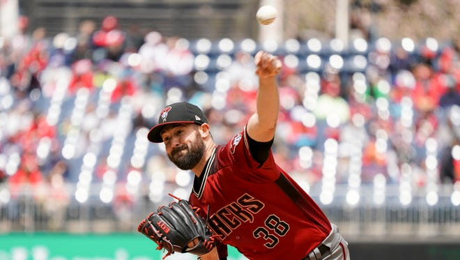 Arizona Diamondbacks starting pitcher Robbie Ray (38) pitches during the first inning of a baseball game against the Washington Nationals at Nationals Park Sunday, April 29, 2018, in Washington.