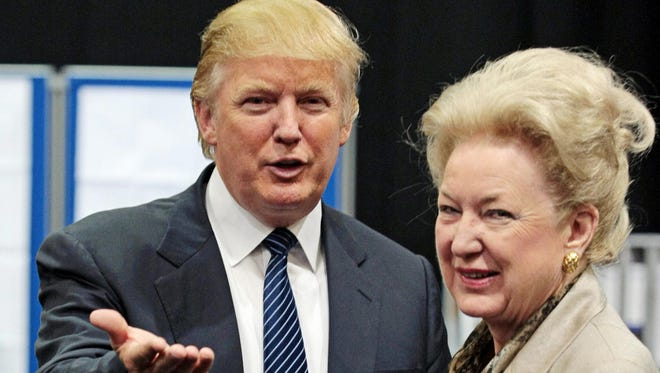 US property tycoon Donald Trump (L) is pictured with his sister Maryanne Trump Barry as they adjourn for lunch during a public inquiry over his plans to build a golf resort near Aberdeen, at the Aberdeen Exhibition & Conference centre, Scotland, on June 10, 2008. Trump wants to build a giant complex on the Scottish east coast near Aberdeen, but has run into opposition from environmentalists and a local farmer who refuses to budge. The Scottish government has called for a full public inquiry into the plans. AFP PHOTO/Ed Jones (Photo credit should read ED Jones/AFP/Getty Images) [Via MerlinFTP Drop]