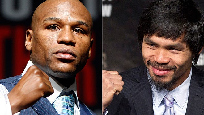 Floyd Mayweather, left, and Manny Pacquiao.