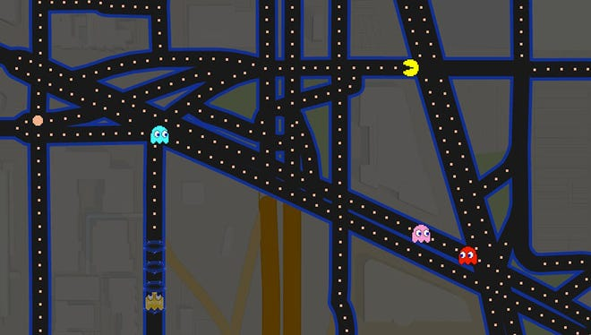 A screenshot of Pac-Man played on a map of Washington, D.C., using Google Maps.