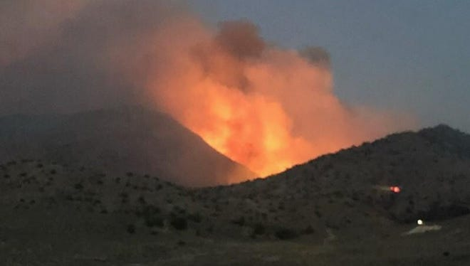 A photo showing the Perry Fire burning just south of Pyramid Lake. The fire was reported late afternoon on Friday, July 27, 2018.