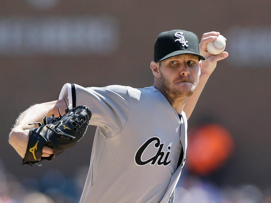 FILE- In this April 18, 2015, file photo, Chicago White Sox starting pitcher Chris Sale throws during the first inning of a baseball game against the Detroit Tigers, in Detroit. Sale, who has appealed his five-game suspension for his role in a brawl with the Royals, is scheduled to try for his third win four starts when the White Sox face Minnesota. (AP Photo/Carlos Osorio, File)