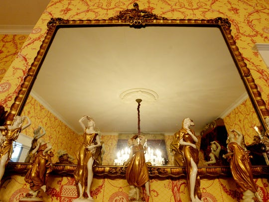 The dining room mirror at the Davis Home.