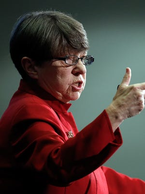 Securities and Exchange Commission chief Chairman Mary Jo White delivering the agency's annual chairman's address for 2014.