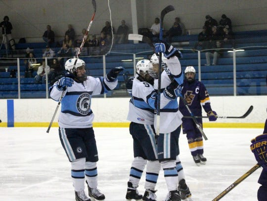 Livonia Stevenson players celebrate after scoring against