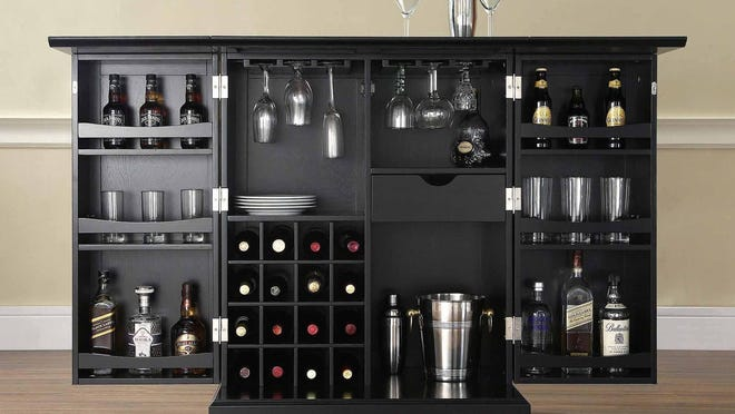 Crosley LaFayette expandable bar cabinet comes in three colors. $479.99 online only at bedbathandbeyond.com.