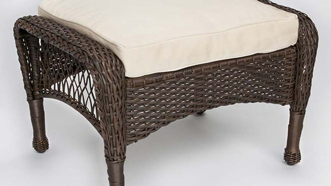 This image provided by the U.S. Consumer Product Safety Commission shows a Wilson and Fisher brand Cayman Resin Wicker Ottoman that is being recalled because the center of the ottoman can collapse during normal use, posing a fall hazard to consumers.