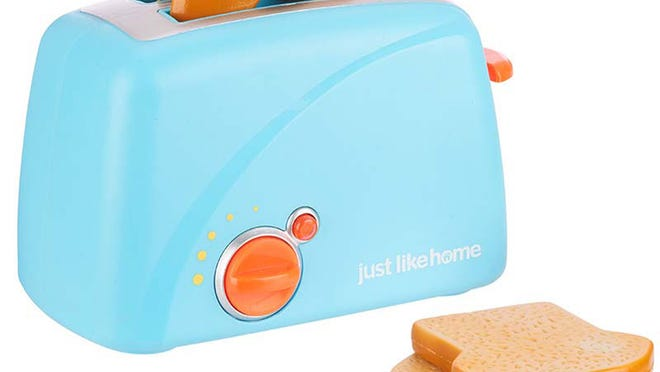 The Just Like Home toy toaster set is being recalled because the plastic toast, under pressure, can crack and break into small pieces, creating sharp edges and posing a choking hazard.