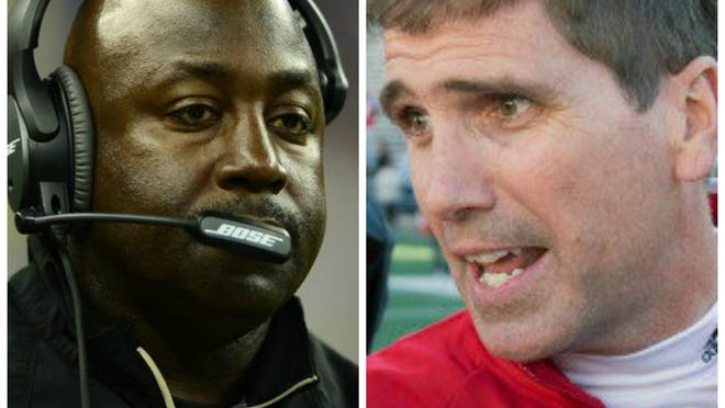 New Orleans Saints secondary coach Wes McGriff, left, has reportedly been hired as Vanderbilt's defensive coordinator. He was a Commodores assistant under James Franklin in 2011. Wisconsin Badgers offensive coordinator Andy Ludwig, right, has reportedly been hired in the same position at Vanderbilt.