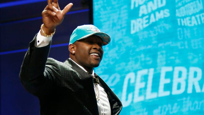 Laremy Tunsil addresses the crowd last Thursday at the NFL Draft. Tunsil tumbled to the 13th pick due to a video that surfaced of him smoking marijuana.