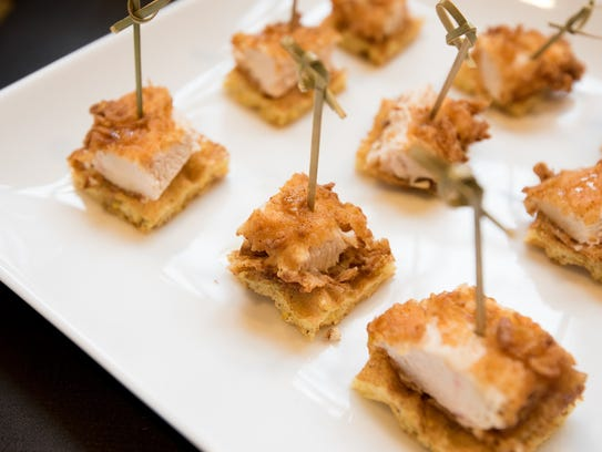 Fried Chicken and Cornmeal Waffle Bites with Honey