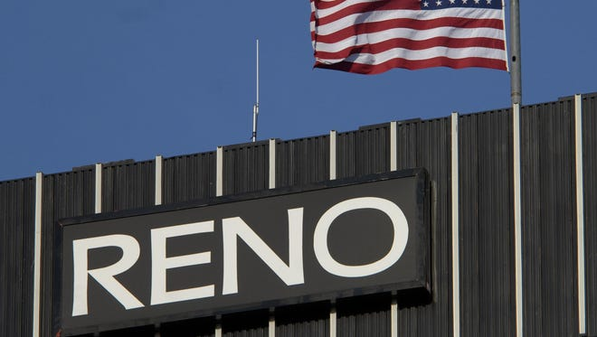 The United State flag flies at half staff over Reno City Hall.