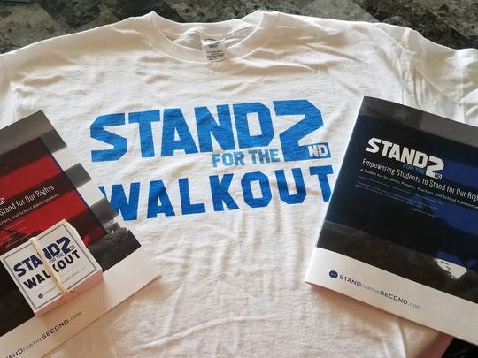 """""""Stand for the Second"""" T-shirts and other material was obtained by students organizing walkouts to defend their right to keep and bear arms."""