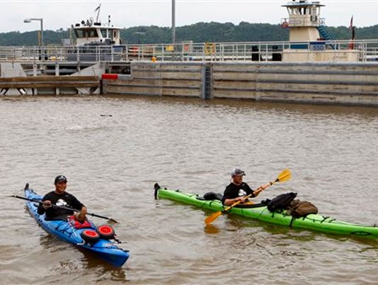 Kayakers on Mississippi River