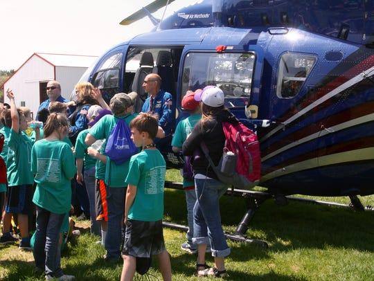 Students got a close look at the Spirit 1 medical transport