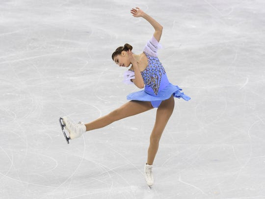 Alexia Paganini (SUI) performs in the ladies figure skating short program during the Pyeongchang 2018 Olympic Winter Games at Gangneung Ice Arena.