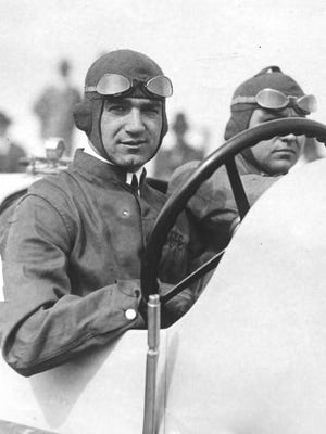 Ralph DePalma with riding mechanic during the 1919 Indianapolis 500.