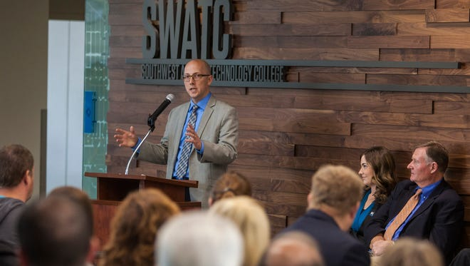 Brennan Wood, president of Southwest Applied Technology College in Cedar City, speaks at the ribbon-cutting ceremony for the school's new building in March 2016.