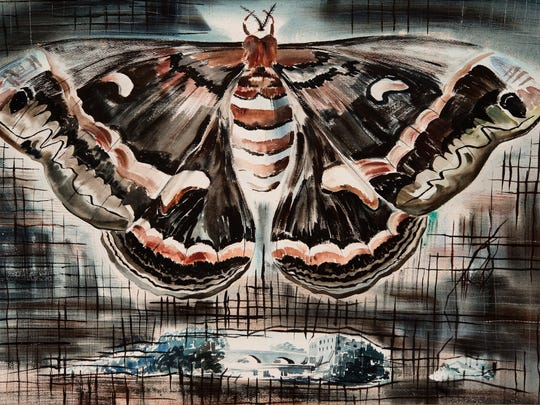 """Arthur K.D. Healy """"Cecropia,"""" 1951, watercolor on paper. Collection of Henry Sheldon Museum, Gift of Martine Hitchcock."""