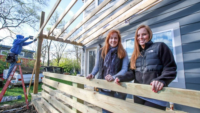 """The mother-daughter boutique home building team of Mina Starsiak and Karen Jensen, oversee one of their current home projects. The duo who go by """"2 Chicks and a Hammer"""", will be featured in a reality show pilot premiering on HGTV Monday, May 4, 11 p.m."""