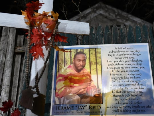 A memorial for Jerame Reid, who was fatally shot by
