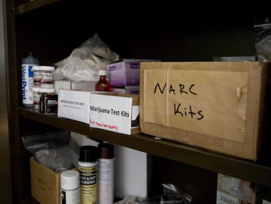 Various drug testing kits are kept at the Great Falls