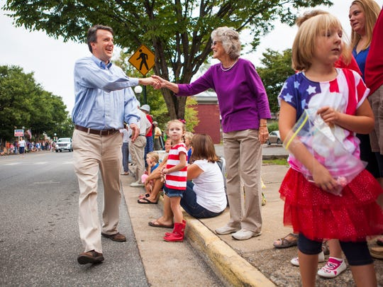Del. Ben Cline, R-24th, shakes hands with people lining