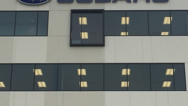 A sign marks the new headquarters of Subaru of America in Camden.