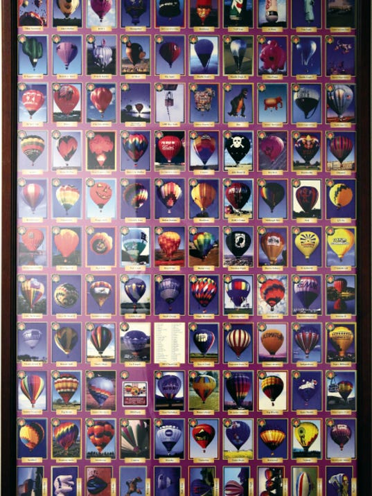 RUBEN R RAMIREZ—EL PASO TIMES Balloonfest will celebrate 30 years of balloons, concerts and other various activities connected with the Memorial Day weekend festival. Here a poster proof from the 1987 Balloonfest shows photos of the ba;;oons from the previous year that were to cut and be made into card collector sets to be distributed.