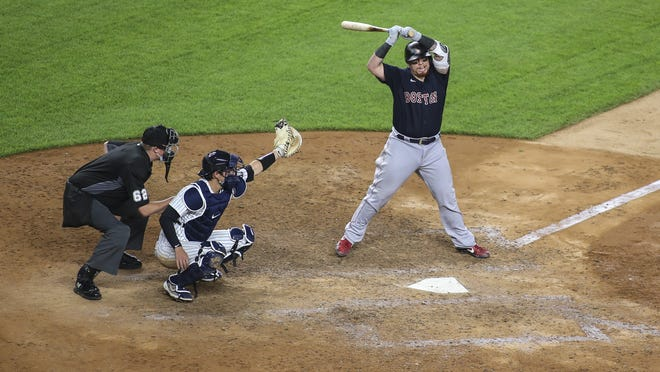 Boston Red Sox catcher Christian Vasquez (7) reacts after almost getting hit by a pitch in the ninth inning against the New York Yankees at Yankee Stadium on July 31, 2020.