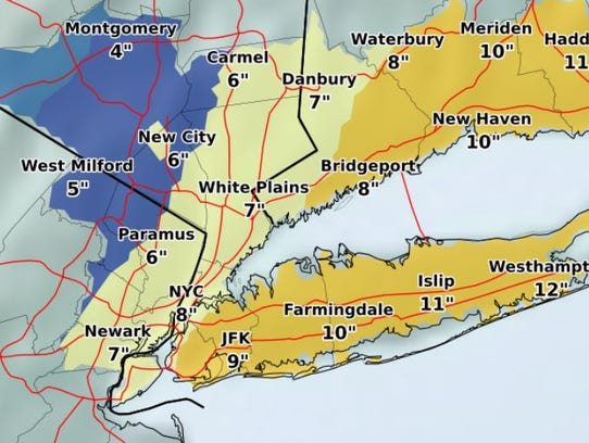 Projected snowfall estimates for the Thursday, Jan.