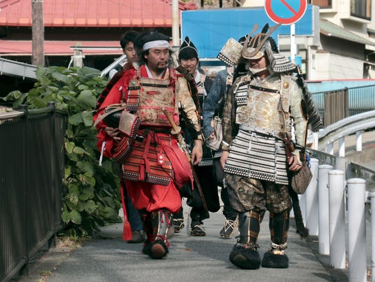 Participants dressed like traditional Japanese samurai