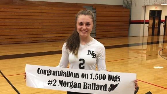North Buncombe senior Morgan Ballard made her 1,500th career dig Monday night.