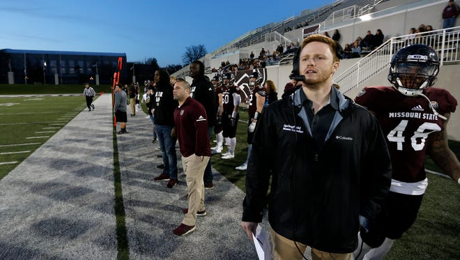 News-Leader sports reporter Wyatt Wheeler coached Missouri State football's defense during the Maroon and White spring exhibition game at Plaster Stadium on Thursday, April 19, 2018.