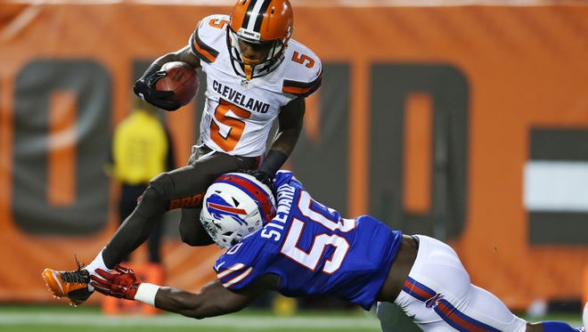 Cleveland Browns' Shane Wynn (5) is tackled by Buffalo Bills' Tony Steward (50) on a punt return. Steward will make his first NFL start Sunday against Houston at Ralph Wilson Stadium.