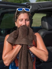 End of the ride in 90 degree heat and high humidity for triathlete Julie Bedford.